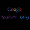 search engine logos: Google, Yahoo, and Bing